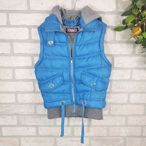 DENIM CO. Hooded Puffer Vest Blue Size 8